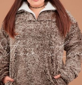 Plus Size Sherpa Pull Over Sweater